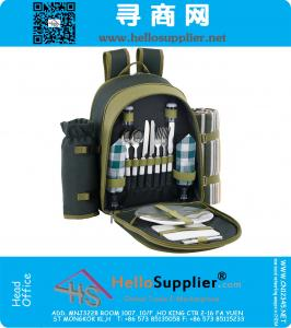2 Person Blue Picnic Backpack Hamper with Cooler Compartment includes Tableware & Fleece Blanket