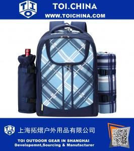 4 Person Blue Tartan Picnic Backpack With Cooler Compartment