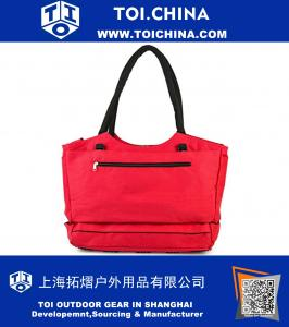 Anti-Theft Travel Tote With Insulated Cooler Compartment