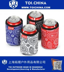 Beer Can Sleeves, 4 Pack Paisley Pattern Extra Thick Neoprene Insulsted Beer Can Coolies, Black, Blue, Red, White