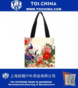 Cotton Canvas Custom Chinese Style Painting Tote Bag Casual Bags Shopping Bags Shoulder Bags