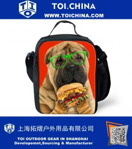Fashion Shar Pei Printing Lunch Bags Portable Food Cooler Handbag