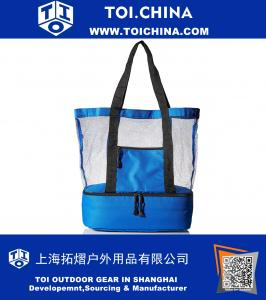 Fashionable Beach Picnic Outdoor 12 drinks Mesh Cooler Bag Tote, Blue
