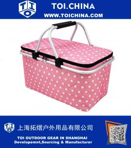 Insulated Folding Picnic Basket Collapsible Tote Bag -Insulated Cooler with Aluminum Handles