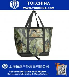 Insulated Picnic Cooler Bag Collapsible Grocery Cooler Tote Reusable Lunch Bag For Men and Women,Large,Camo