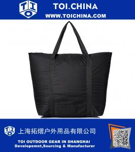 Large Cooler Tote Bag Zipper in Black Leakproof Bottom Stitching
