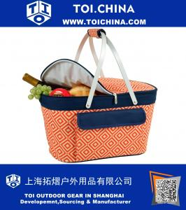 Large Family Size Insulated Folding Collapsible Picnic Basket Cooler with Sewn in Frame