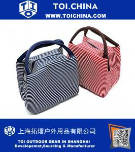 Lunch Bag, Cotton Stripe Insulated Lunch Boxes Tote Bag