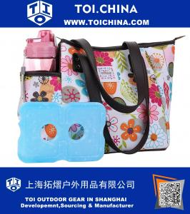 Lunch Bag Set Lunch Box with Ice Pack and 20 oz Matching Water Bottle,Full Zipper Closure Insulated Lunch Bag Lunch Boxes for Adults Flora Lunch Tote for Lunch