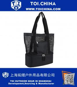 Mesh Tote Insulated Cooler Beach Bag