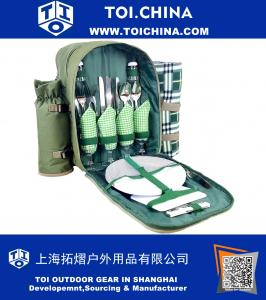 Picnic Backpack for 4 Persons, With Cooler Compartment, Detachable Bottle Holder, Flatware, Blanket And Other Essentials