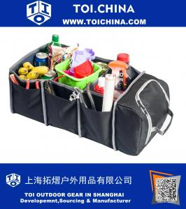 Premium Car Trunk Organizer with Cooler Bag|Best Heavy Duty Construction|Great For Holding Groceries, Storing Cargo|Ideal Storage Basket for Car Truck, Van SUV