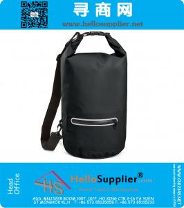Premium Waterproof Dry Bag with Exterior Zip Pocket Shoulder Strap and Reflective Trim
