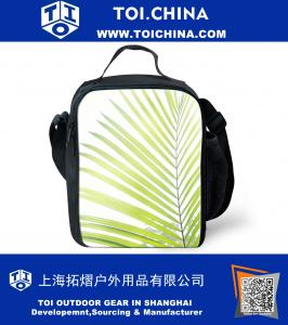 Thermal Insulated Green Leaf Printing Lunch Box Tote Handbag Cooler Bag Food Container Lunchbag Tote for Kids